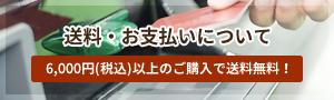 送料・お支払いについて 6,000円(税込)以上のご購入で送料無料!