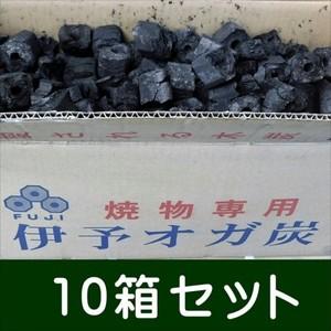 (事業者限定商品) 富士炭化工業 国産 焼物専用伊予オガ炭(3-5cm)10kg10箱セット