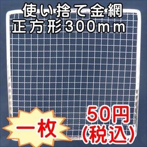 焼き網 バーベキュー 使い捨て網正方形300mm 1枚