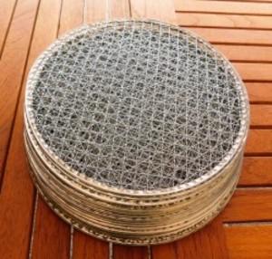 焼き網 バーベキュー 使い捨て金網丸平型300mm20枚